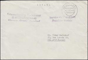 Internationaler Suchdienst Arolsen (Waldeck) 2.3.56 Brief nach Tel Aviv / Israel
