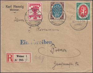 107+108+109 Nationalversammlung auf R-Brief WEIMAR-NATIONALVERSAMMLUNG 16.7.1919