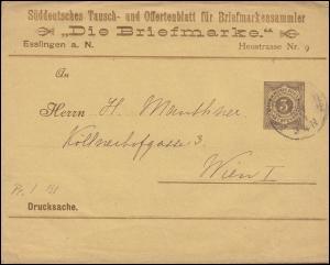 Württemberg PS 2 Streifband Die Briefmarke ESSLINGEN-BAHNHOF 27.11.1894