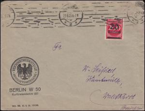 282II Infla 20 Tsd auf 200 M als EF auf Brief BERLIN-CHARLOTTENBURG 29.8.1923