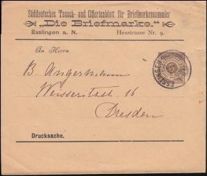 Württemberg PS 2 Streifband-Drucksache Die Briefmarke ESSLINGEN-BAHNHOF 2.6.1896