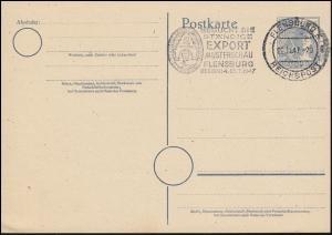 Werbestempel FLENSBURG REICHSPOST EXPORT-Musterschau 22.1.47 auf Postkarte P 962