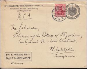 Germania 10 Pf EF auf Umschlag Königliche Bibliothek BERLIN 1.7.1914 in die USA