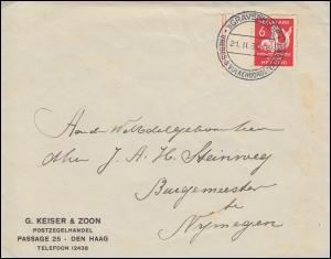 231C Kinderhilfe Randmarke Rollenzähung EF auf Brief SSt ´sGRAVENHAGE 21.2.1930