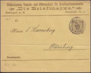 Württemberg PS 2 Streifband-Drucksache Die Briefmarke ESSLINGEN-BAHNHOF 15.2.95