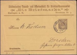Württemberg PU 9 Ziffer Drucksache Die Briefmarke ESSLINGEN-BAHNHOF 13.5.1895