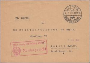 Frei durch Ablösung Reich Reichsgericht Brief SSt LEIPZIG MESSESTADT 7.1.1931