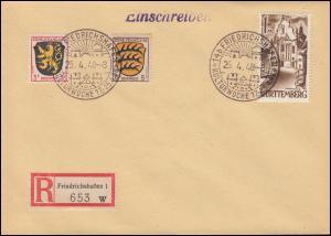 13 Zwiefalten mit Wappen 3 + 5 Pf Blanko-R-Brief SSt FRIEDRICHSHAFEN 25.4.48