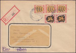 6+8 Freimarken Wappen 12+20 Pf MiF auf R-Brief Not-R-Zettel MEERSBURG 30.9.1947