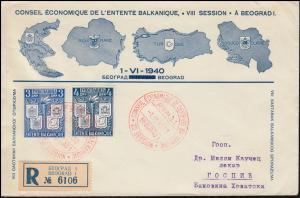 Jugoslawien 423+425 Balkanbund auf R-Schmuck-FDC roter ESSt BEOGRAD 1.6.40