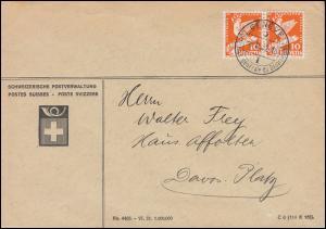 251 Abrüstungskonferenz 10 C. als Paar in MeF Brief Postverwaltung GENF 6.1.1932