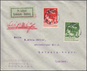 Luftpost-Brief Kopenhagen-Hamburg Kat.-Nr. 143 und 145 Flugpost BOGENSE 12.8.25