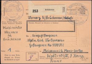Kriegsgefangenenpost Paketkarte SSt BRÜCKENAU 3.9.46 nach Mulsanne / Frankreich