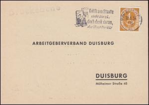 124 Posthorn als EF Drucksache Einladung vom Arbeitgeberverband Duisburg 12.4.54