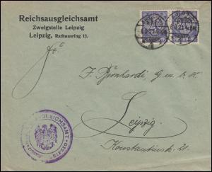 26 Dienstmarke Paar als MeF Orts-Brief Reichsausgleichsamt LEIPZIG 6.9.1921