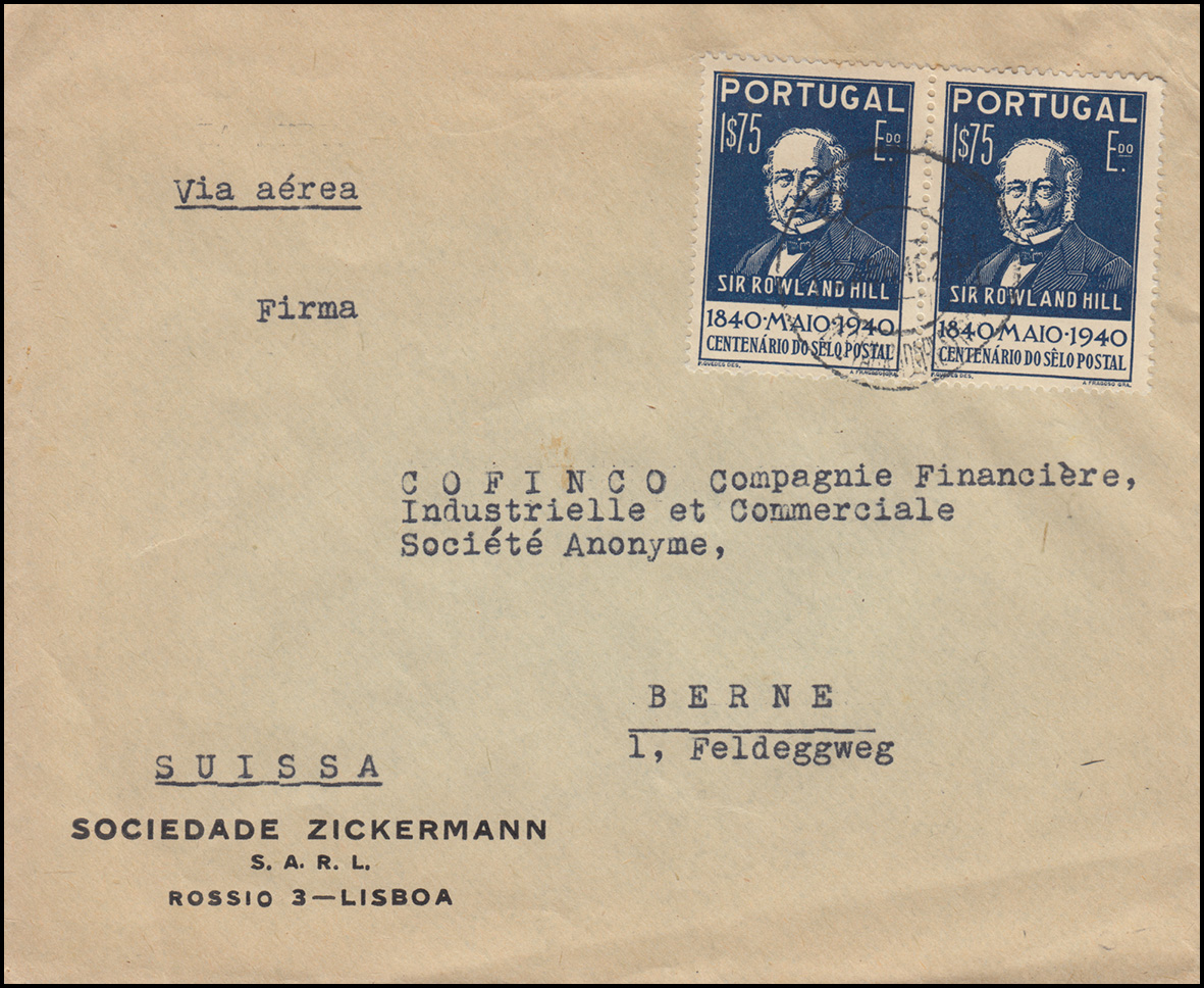 629 Rowland Hill 1,75 E Paar auf Auslandsbrief LISSABON 1941 nach Bern / Schweiz 0