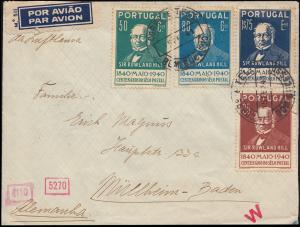 Deutsche Zensur Portugal-Brief 622ff Rowland Hill mit Zusatzfr. LISSABON 14.2.41