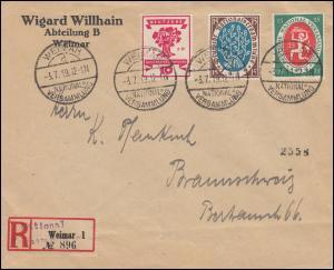 107+108+109 Nationalversammlung R-Brief Sonder-R-Zettel WEIMAR-NATIONALV. 3.7.19
