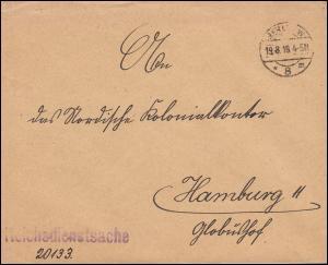 Reichsdienstsache Reichs-Kolonialamt Brief BERLIN 19.8.1918 nach Hamburg