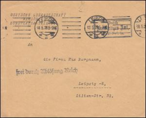 Frei durch Ablösung Reich Gesandtschaft Warschau, Orts-Brief LEIPZIG 18.5.1926