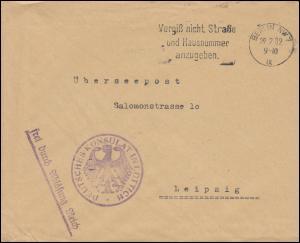 Frei durch Ablösung Deutsches Konsulat Lüttich Überseepost Brief BERLIN 29.2.32