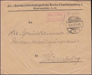 Infla-Notausgabe Gebühr-bezahlt-Stempel Reichswirtschaftsgericht BERLIN 12.9.23