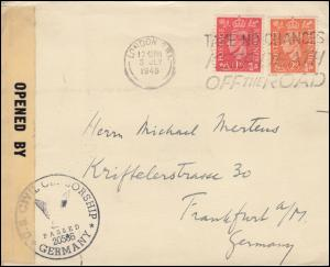 Zensur U.S. CIVIL CENSORSHIP 20586 Germany auf England-Brief LONDON 3.7.1946