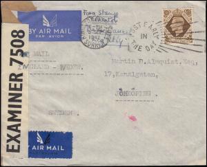 Zensur OPEND BY EXAMINER 7508 England-Brief KINGSTON 5.9.1942 nach Schweden