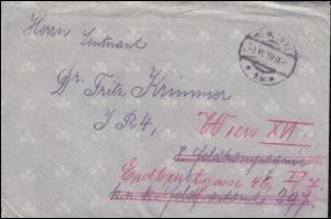 Österreich Feldpostbrief mit Inhalt WIEN 3.6.1918 - mit grüner PAX-Vignette