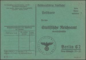 Portopflichtige Dienstsache Statistisches Reichsamt Berlin Gemüsestatistik 1938