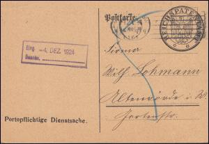 Portopflichtige Dienstsache Reichspatentamt BERLIN 2.12.1924 nach Altenmünster