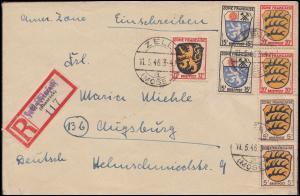 3ff Wappen-Frankatur auf R-Brief Not-R-Zettel ZELL (MOSEL) 11.5.46 nach Augsburg