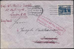 Österreich Zuschlagsfrei mit Flug befördert Brief 507 Landschaft WIEN 24.10.1931