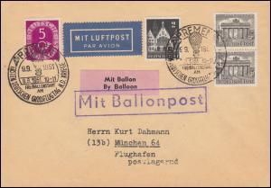 Mit Ballonpost - Drucksache mit MiF SSt BREMEN Grossflugtag 9.9.51 nach München