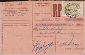 Belgien Zahlkarte BRÜSSEL 30.7.1952 mit 933 Weltpostkongress