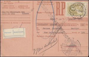 Belgien Zahlkarte CALLENELLE 13.6.1952 mit 933 Weltpostkongress