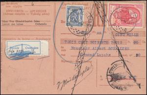 Belgien Zahlkarte CALLENELLE 13.12.1952 mit 932 Weltpostkongress + 566 Wappen