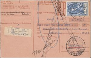 Belgien Zahlkarte CALLENELLE 29.11.1952 mit 934 Weltpostkongress