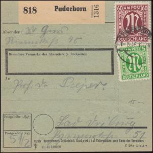 19+33 AM-Post 5+60 Pf. auf Paketkarte PADERBORN 1.5.1946 nach BAD DRIEBURG 4.5.
