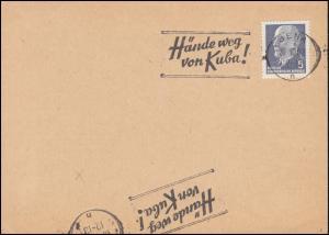Hände weg von Kuba! Propaganda-Stempel auf Blanko-Karte JENA 20.10.1962