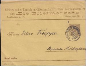 Württemberg PS 2 Streifband Die Briefmarke ESSLINGEN-BAHNHOF 13.8.1894