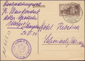 Postkarte P 25 Kaserne mit SSt MERZIG Das Tor zum romantischen Saartal  24.6.33