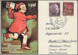 Schweiz Schmuckkarte T.d.B. 1948 SSt. TAG DER BRIEFMARKE SCHAFFHAUSEN 5.12.48