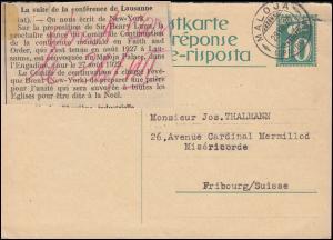 Antwortkarte Wertangabe mit Taube 10 C. MALOJA (GRAUBÜNDEN) 28.8.1929