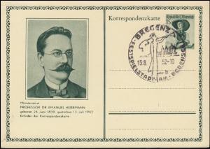 Bildpostkarte P 345 Emanuel Herrmann mit SSt BREGENZ Festspielstadt 13.8.1952