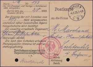 Frei durch Ablösung Reichskommissariat Reparationslieferungen BERLIN 4.8.1925