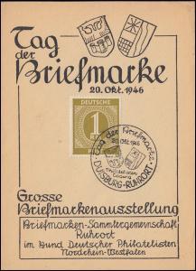 Tag der Briefmarke Briefmarkenausstellung SSt DUISBURG-RUHRORT 20.10.46
