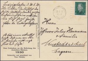 AK Befreiung des Rheins als FDC 444 mit Ersttagsstempel LUDWIGSHAFEN 30.6.1930