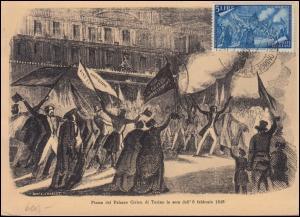 750 Erhebung von 1848 Verfassungsfeier 5 Lire Maximumkarte SSt TORINO 15.10.1948