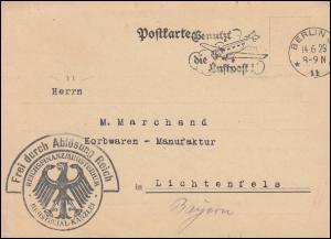 Frei durch Ablösung Reichsfinanzministerium Postkarte BERLIN 14.6.1929